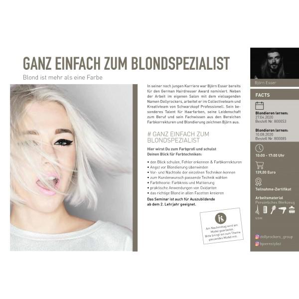 Workshop - Ganz einfach zum Blondspezialis mit Björn Esser 10.08.2020